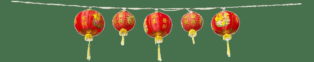 Rote Chinesische Laternen hängen überall