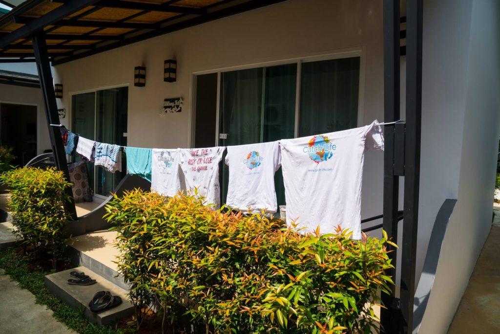Wäscheleine im Malee Sirin in  Koh Lanta Old Town