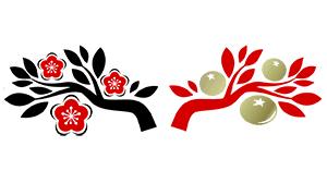 Chinese style trees with flowers and fruits