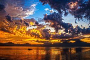Beautiful Sunset Da Nang Bay Vietnam