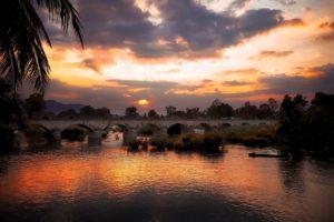 Bridge Sunset Mekong Delta South Vietnam