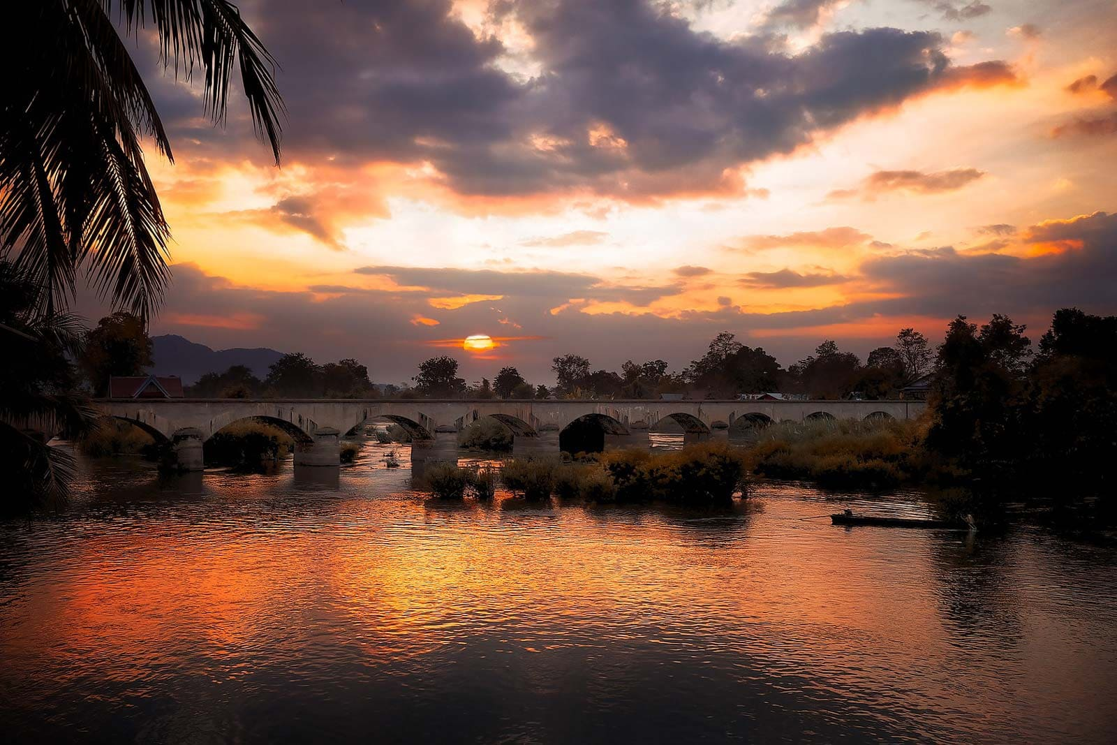 Bridge Sunset Mekong Delta South Vietnam